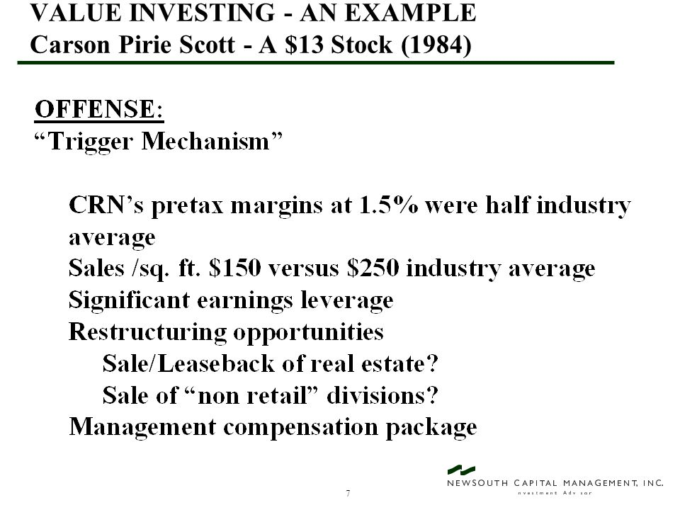 38 VALUE INVESTING - AN EXAMPLE Fingerhut - A $14.375 Stock (March, 1997)