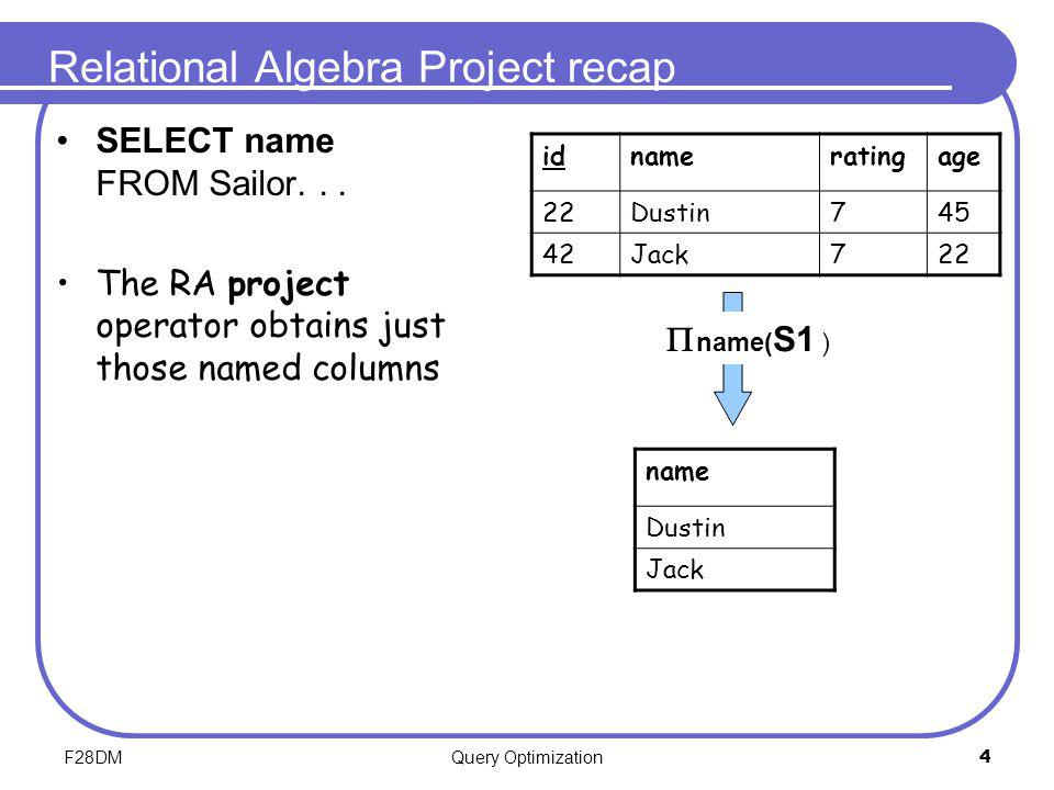 F28DMQuery Optimization4 Relational Algebra Project recap SELECT name FROM Sailor... The RA project operator obtains just those named columns idnamera