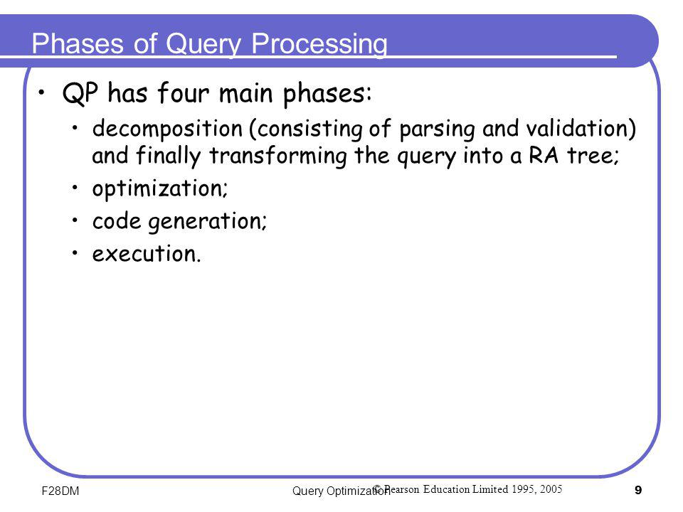 F28DMQuery Optimization9 Phases of Query Processing QP has four main phases: decomposition (consisting of parsing and validation) and finally transfor