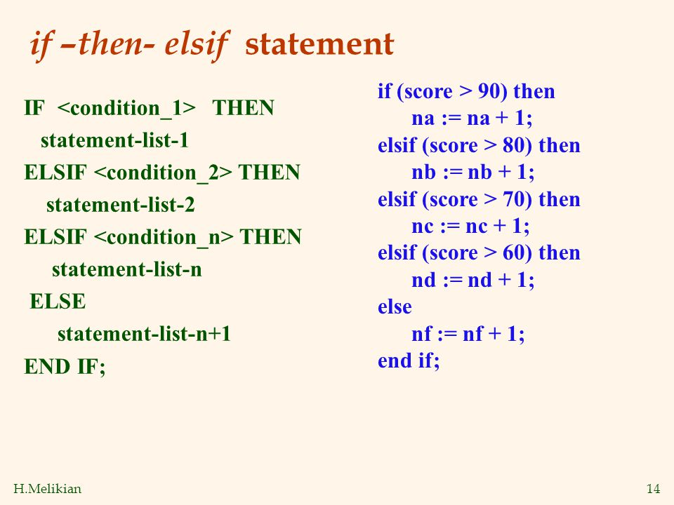 H.Melikian14 if –then- elsif statement IF THEN statement-list-1 ELSIF THEN statement-list-2 ELSIF THEN statement-list-n ELSE statement-list-n+1 END IF