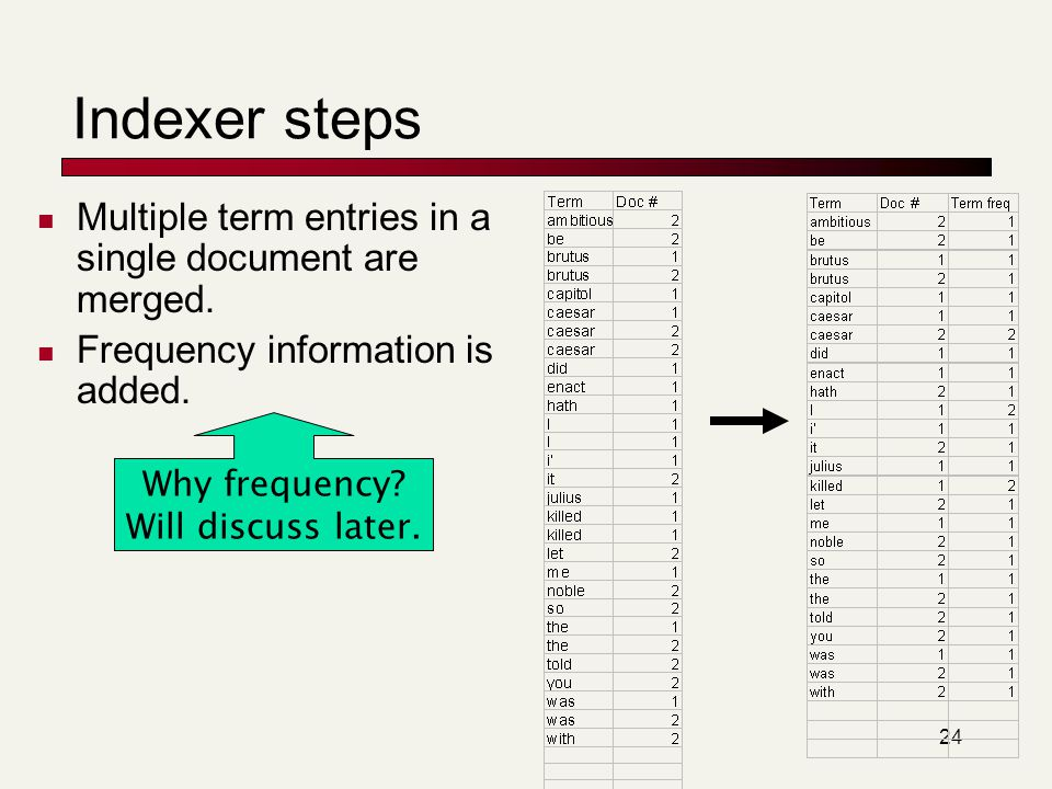 24 Multiple term entries in a single document are merged. Frequency information is added. Why frequency? Will discuss later. Indexer steps