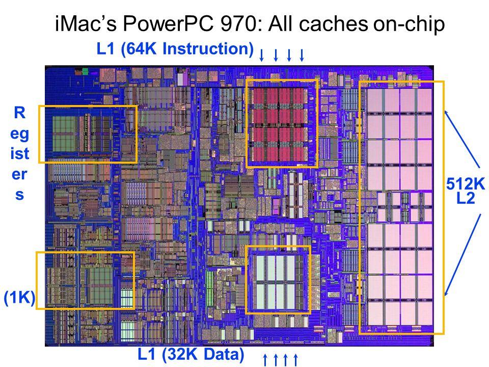 iMac's PowerPC 970: All caches on-chip (1K) R eg ist er s 512K L2 L1 (64K Instruction) L1 (32K Data)