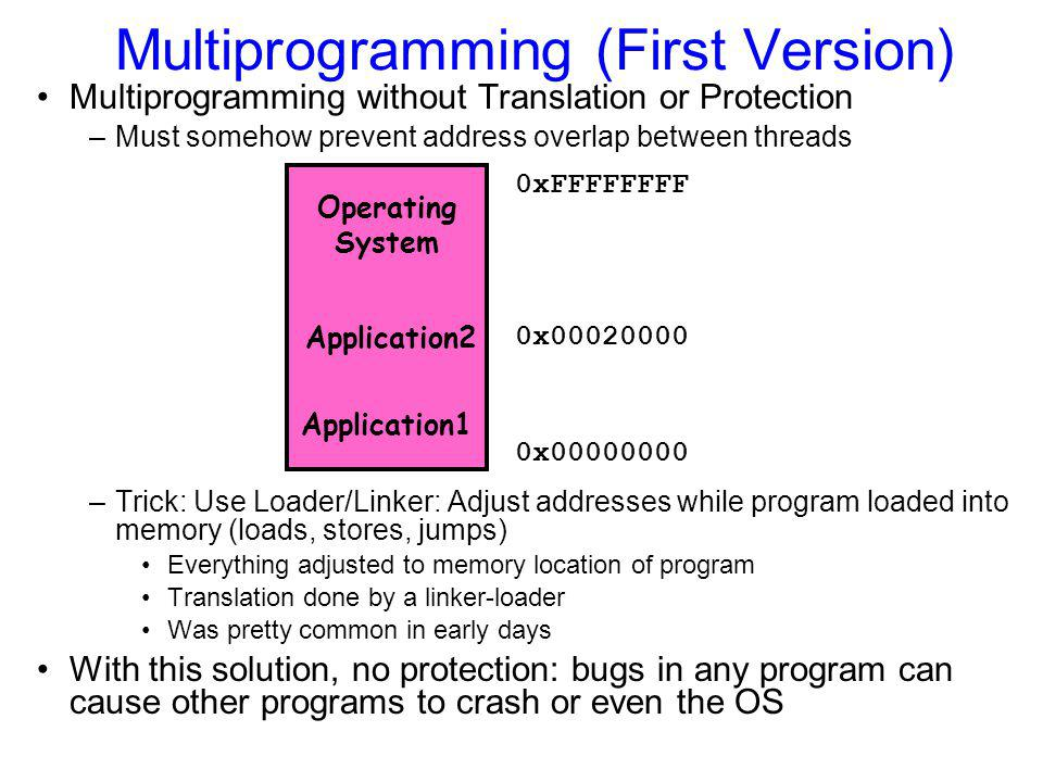 Multiprogramming (First Version) Multiprogramming without Translation or Protection –Must somehow prevent address overlap between threads –Trick: Use Loader/Linker: Adjust addresses while program loaded into memory (loads, stores, jumps) Everything adjusted to memory location of program Translation done by a linker-loader Was pretty common in early days With this solution, no protection: bugs in any program can cause other programs to crash or even the OS 0x00000000 0xFFFFFFFF Application1 Operating System Application2 0x00020000