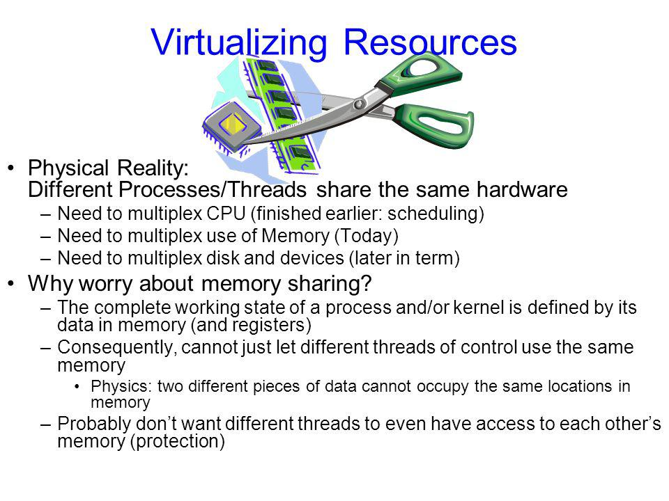 Virtualizing Resources Physical Reality: Different Processes/Threads share the same hardware –Need to multiplex CPU (finished earlier: scheduling) –Need to multiplex use of Memory (Today) –Need to multiplex disk and devices (later in term) Why worry about memory sharing.