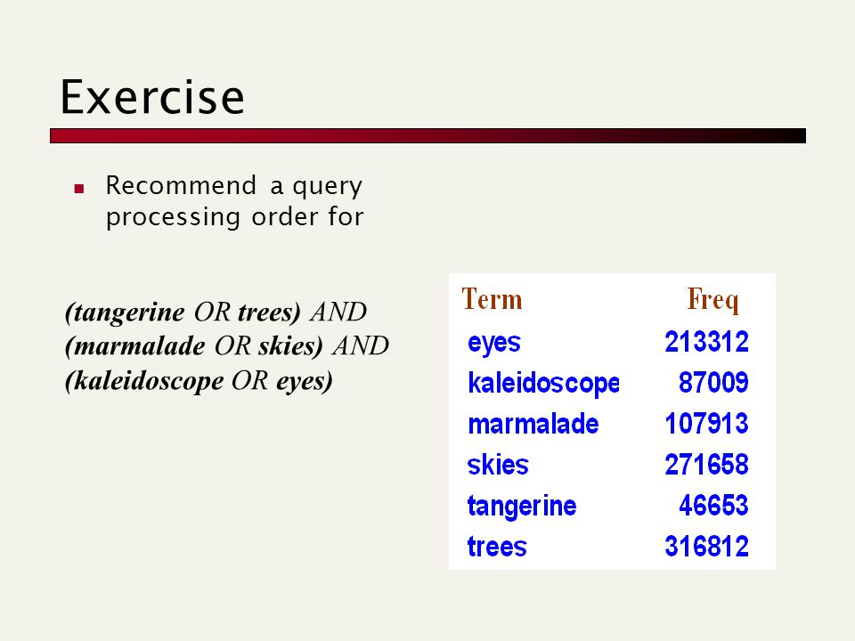 Exercise Recommend a query processing order for (tangerine OR trees) AND (marmalade OR skies) AND (kaleidoscope OR eyes)