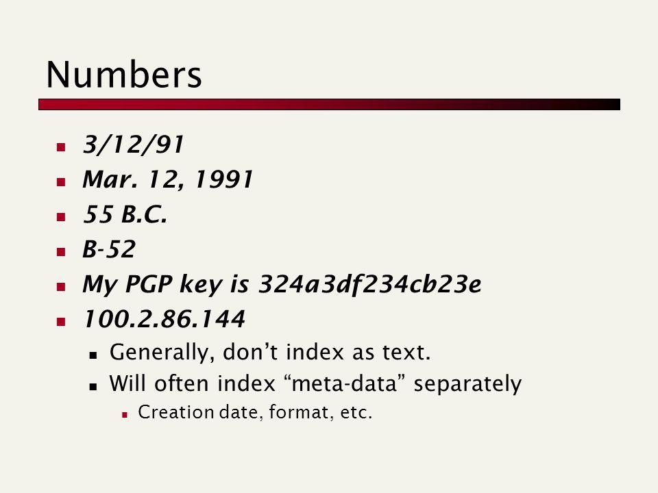 Numbers 3/12/91 Mar. 12, 1991 55 B.C.