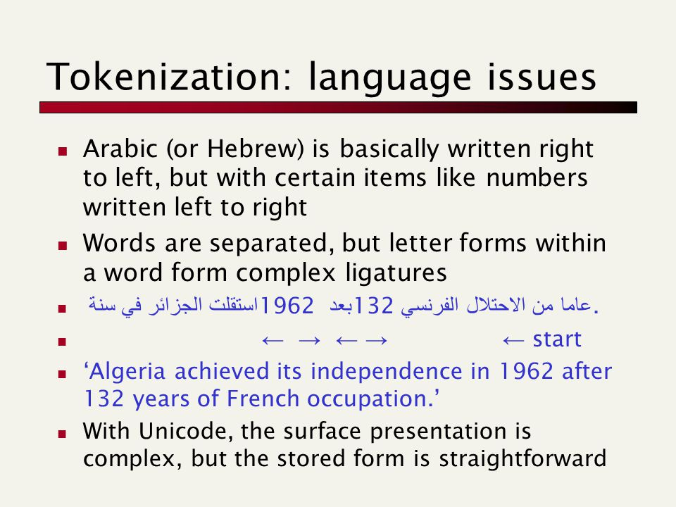 Tokenization: language issues Arabic (or Hebrew) is basically written right to left, but with certain items like numbers written left to right Words are separated, but letter forms within a word form complex ligatures استقلت الجزائر في سنة 1962 بعد 132 عاما من الاحتلال الفرنسي.