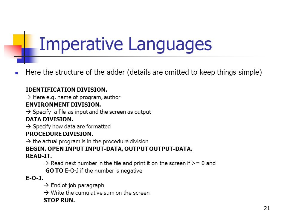 22 Imperative Languages The C programming language Emerged in the early 1970s HLL but with hardware-oriented constructs Why.