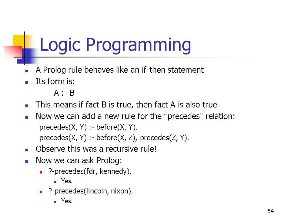55 Logic Programming ?-precedes(lincoln, X).