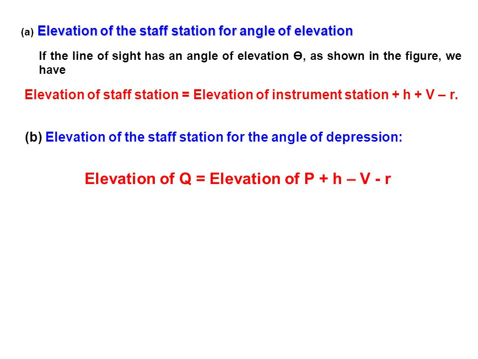 Elevation of the staff station for angle of elevation (a) Elevation of the staff station for angle of elevation If the line of sight has an angle of e