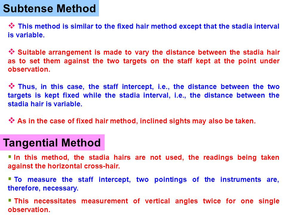 Subtense Method  This method is similar to the fixed hair method except that the stadia interval is variable.  Suitable arrangement is made to vary