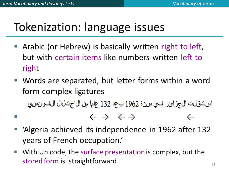 Term Vocabulary and Postings Lists 13 Tokenization: language issues  Arabic (or Hebrew) is basically written right to left, but with certain items like numbers written left to right  Words are separated, but letter forms within a word form complex ligatures  ← → ← → ←  'Algeria achieved its independence in 1962 after 132 years of French occupation.'  With Unicode, the surface presentation is complex, but the stored form is straightforward Vocabulary of Terms