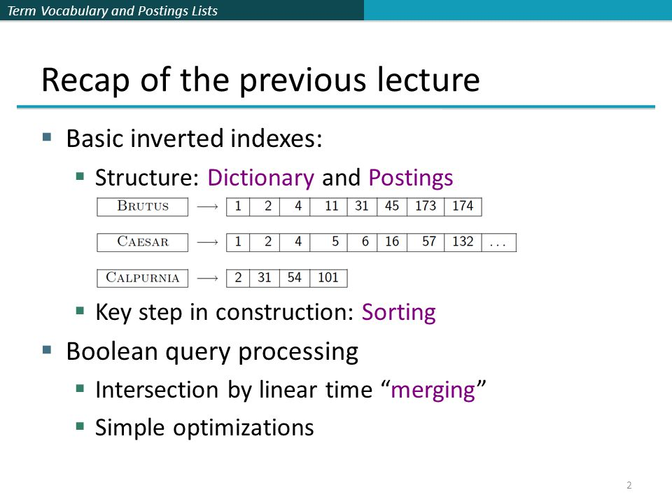 Term Vocabulary and Postings Lists 3 Plan for this lecture Elaborate basic indexing  Preprocessing to form the term vocabulary  Documents  Tokenization  What terms do we put in the index.
