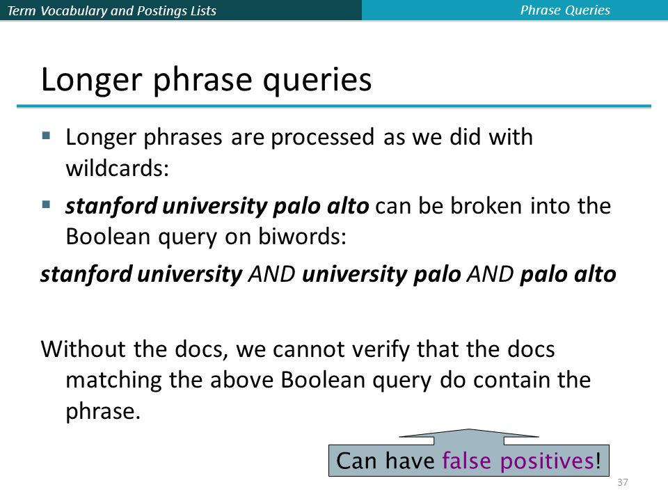 Term Vocabulary and Postings Lists 37 Longer phrase queries  Longer phrases are processed as we did with wildcards:  stanford university palo alto can be broken into the Boolean query on biwords: stanford university AND university palo AND palo alto Without the docs, we cannot verify that the docs matching the above Boolean query do contain the phrase.