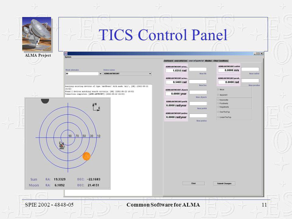 ALMA Project 11SPIE 2002 - 4848-05Common Software for ALMA TICS Control Panel