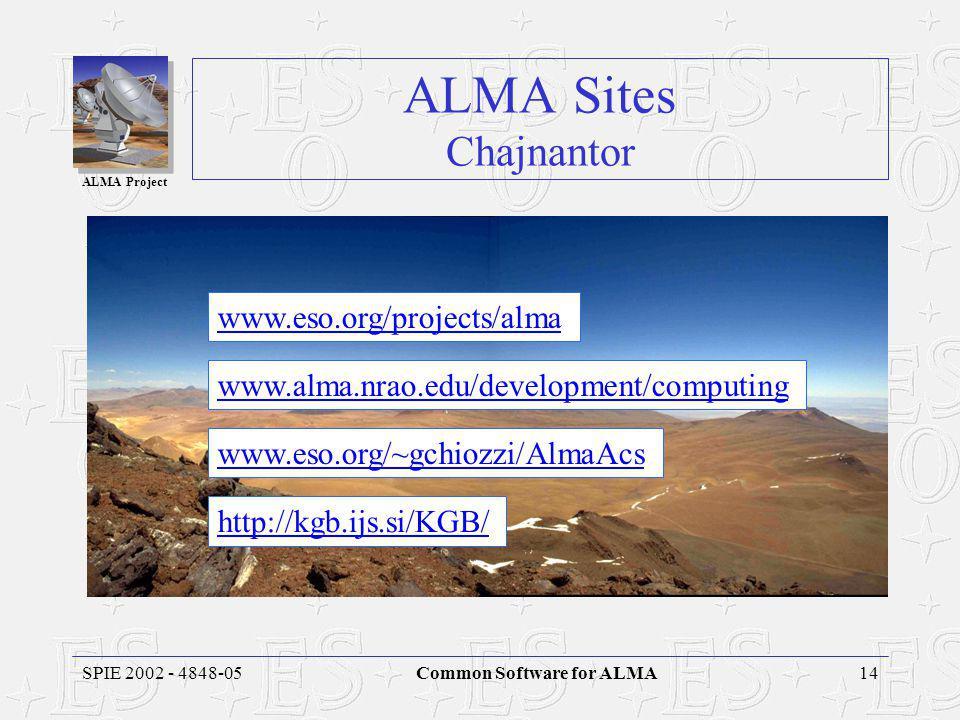 ALMA Project 14SPIE 2002 - 4848-05Common Software for ALMA ALMA Sites Chajnantor www.alma.nrao.edu/development/computing www.eso.org/~gchiozzi/AlmaAcs http://kgb.ijs.si/KGB/ www.eso.org/projects/alma