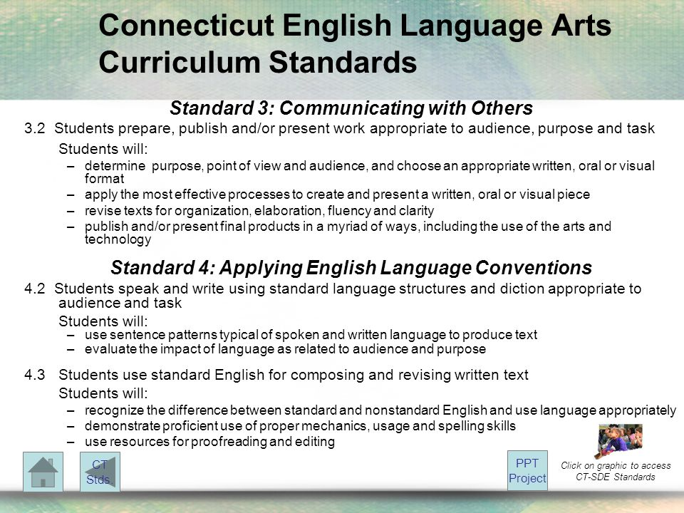 Connecticut English Language Arts Curriculum Standards Standard 3: Communicating with Others 3.2 Students prepare, publish and/or present work appropr