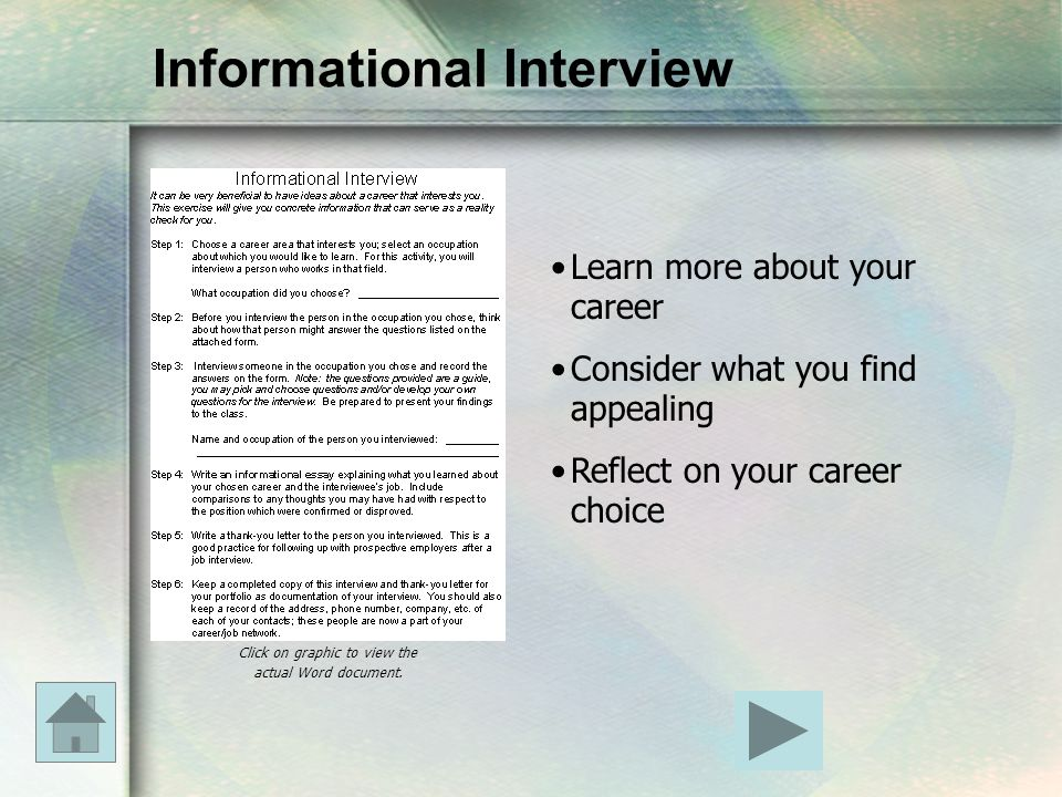 Informational Interview Learn more about your career Consider what you find appealing Reflect on your career choice Click on graphic to view the actua