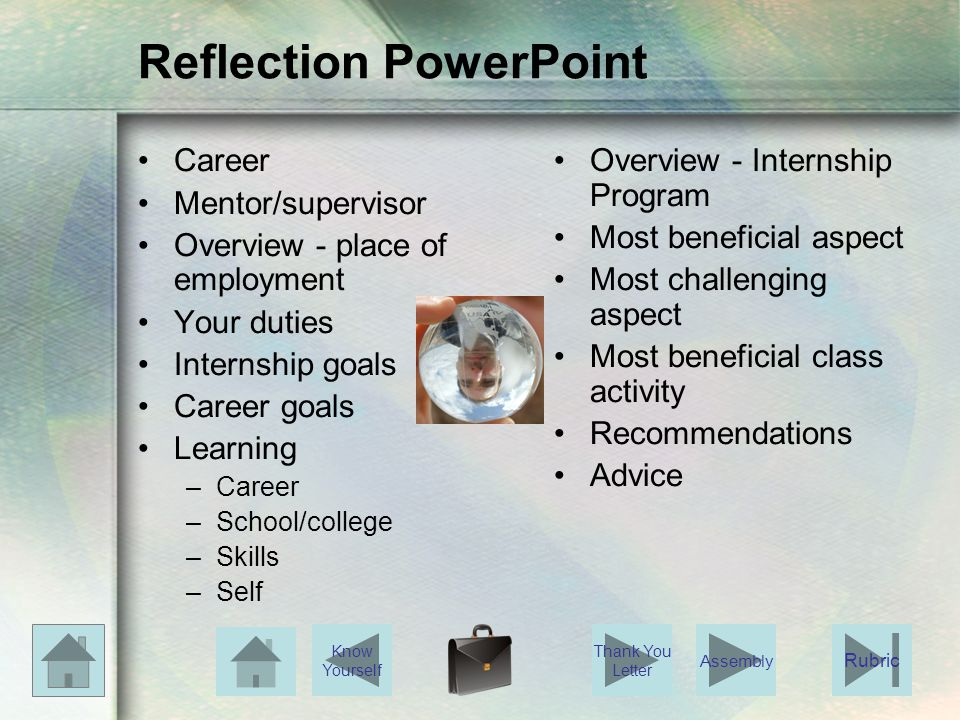 Reflection PowerPoint Career Mentor/supervisor Overview - place of employment Your duties Internship goals Career goals Learning –Career –School/colle
