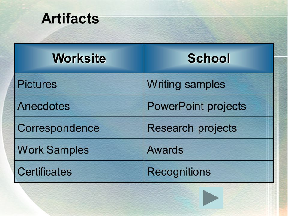 ArtifactsWorksiteSchool PicturesWriting samples AnecdotesPowerPoint projects CorrespondenceResearch projects Work SamplesAwards CertificatesRecognitions