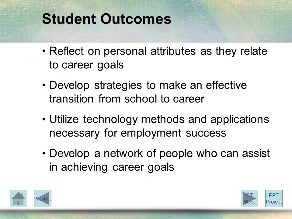 Student Outcomes Reflect on personal attributes as they relate to career goals Develop strategies to make an effective transition from school to career Utilize technology methods and applications necessary for employment success Develop a network of people who can assist in achieving career goals PPT Project CT Stds.