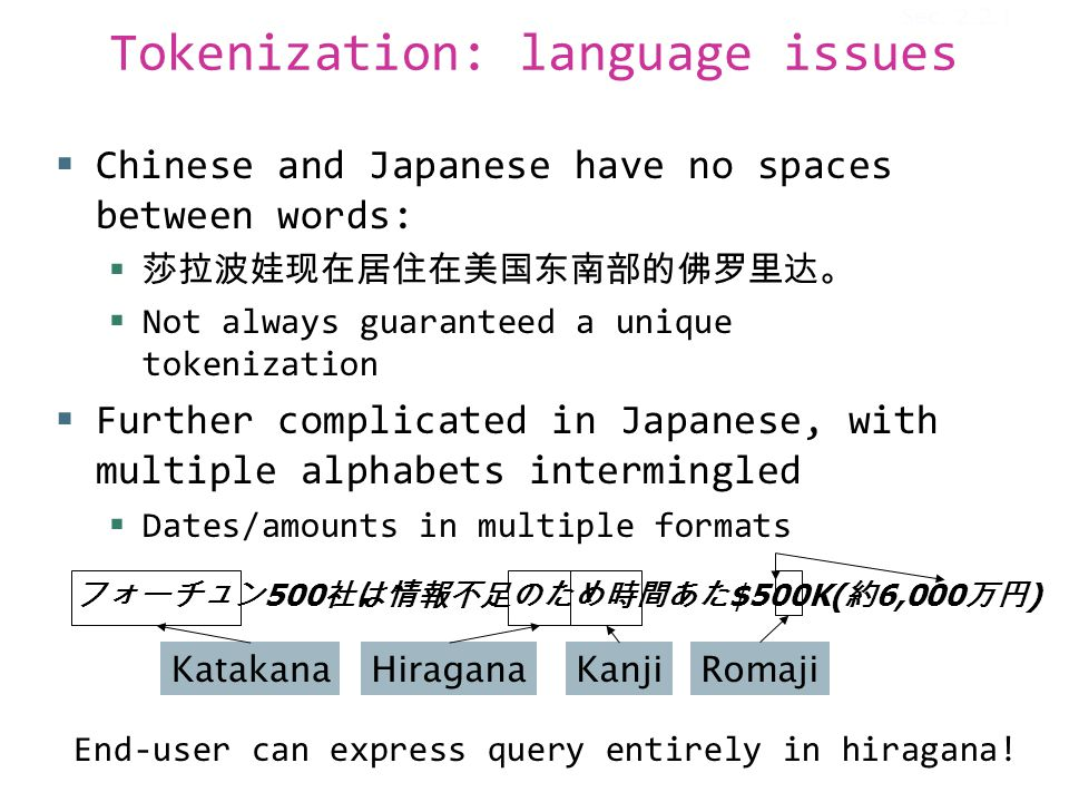 Tokenization: language issues  Chinese and Japanese have no spaces between words:  莎拉波娃现在居住在美国东南部的佛罗里达。  Not always guaranteed a unique tokenization  Further complicated in Japanese, with multiple alphabets intermingled  Dates/amounts in multiple formats フォーチュン 500 社は情報不足のため時間あた $500K( 約 6,000 万円 ) KatakanaHiraganaKanjiRomaji End-user can express query entirely in hiragana.