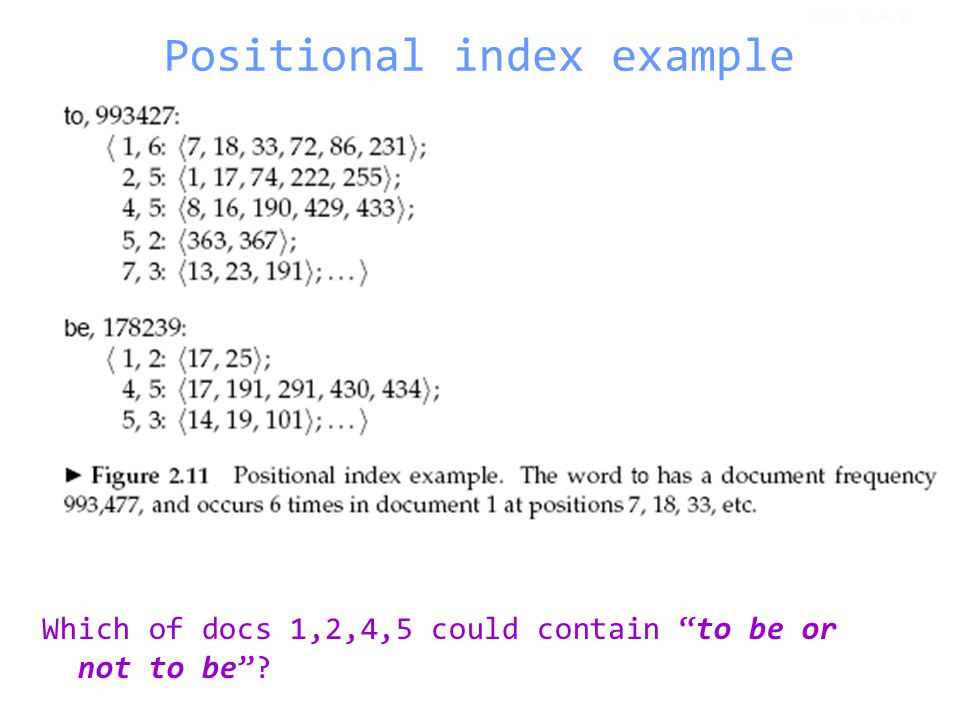 Positional index example Which of docs 1,2,4,5 could contain to be or not to be ? Sec. 2.4.2