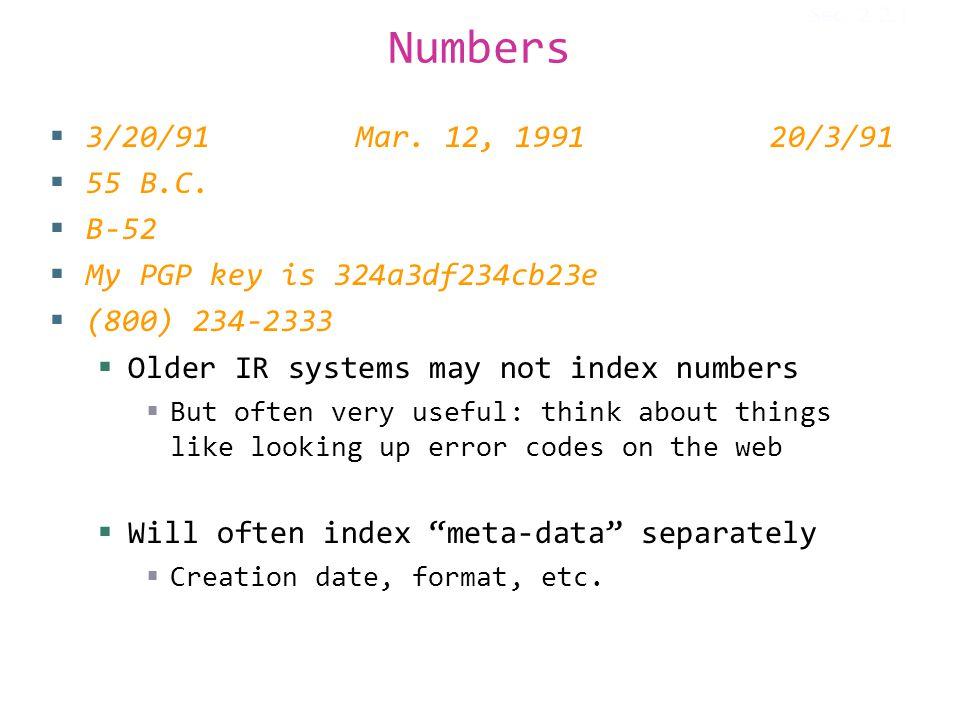 Numbers  3/20/91 Mar. 12, 199120/3/91  55 B.C.