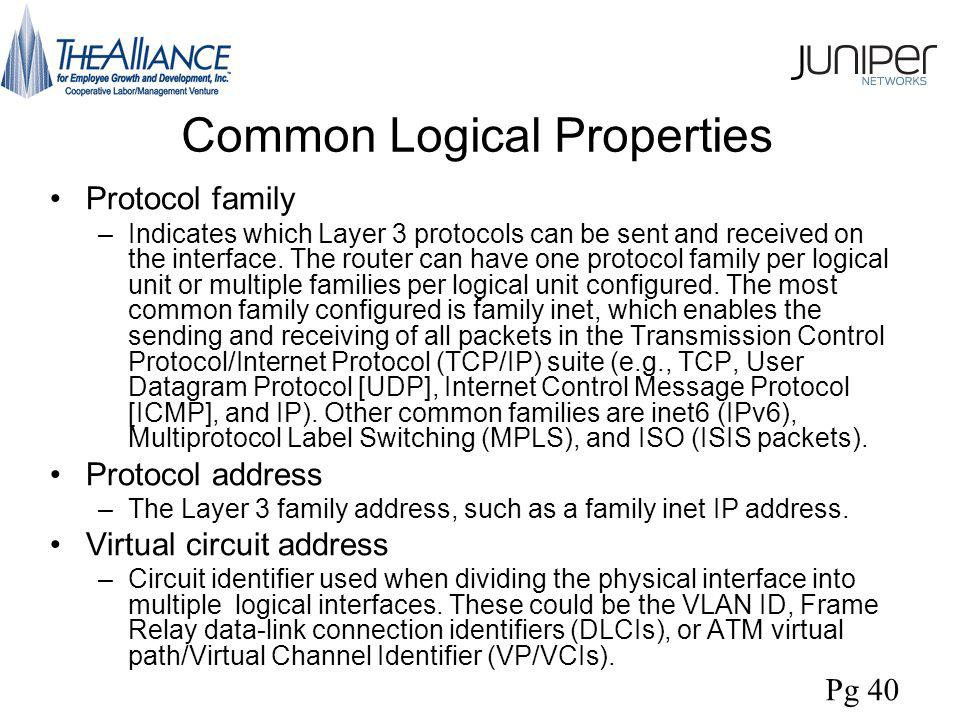Common Logical Properties Protocol family –Indicates which Layer 3 protocols can be sent and received on the interface.