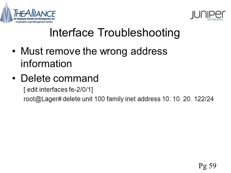 Interface Troubleshooting Must remove the wrong address information Delete command [ edit interfaces fe-2/0/1] root@Lager# delete unit 100 family inet address 10.