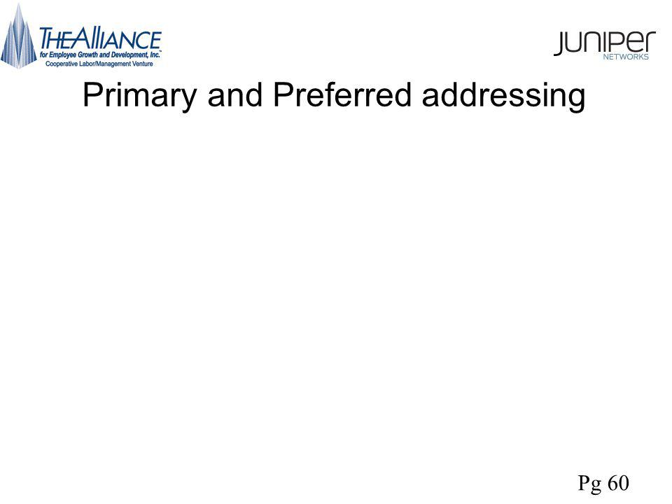 Primary and Preferred addressing Pg 60