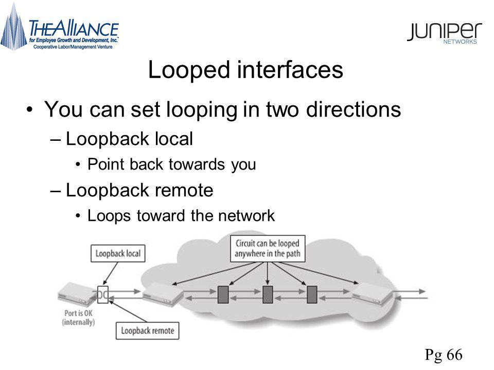 Looped interfaces You can set looping in two directions –Loopback local Point back towards you –Loopback remote Loops toward the network Pg 66
