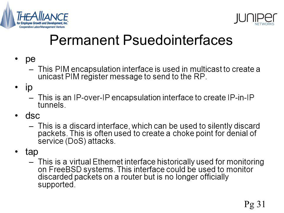 Permanent Psuedointerfaces pe –This PIM encapsulation interface is used in multicast to create a unicast PIM register message to send to the RP.