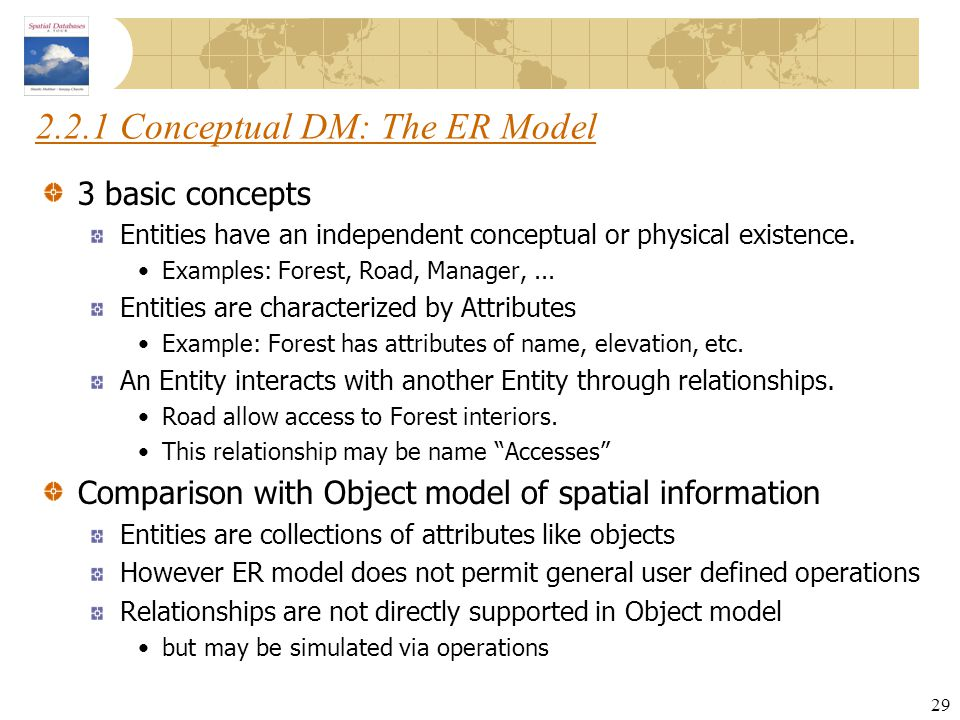 29 2.2.1 Conceptual DM: The ER Model 3 basic concepts Entities have an independent conceptual or physical existence. Examples: Forest, Road, Manager,.