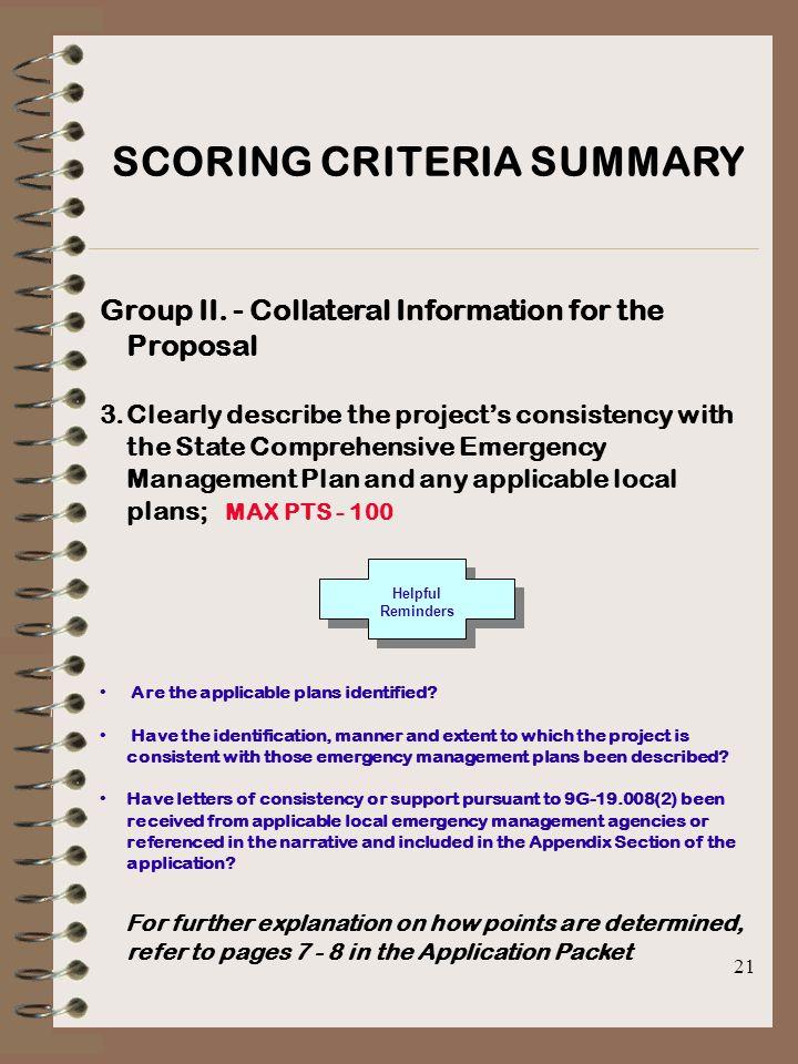 21 SCORING CRITERIA SUMMARY Group II.