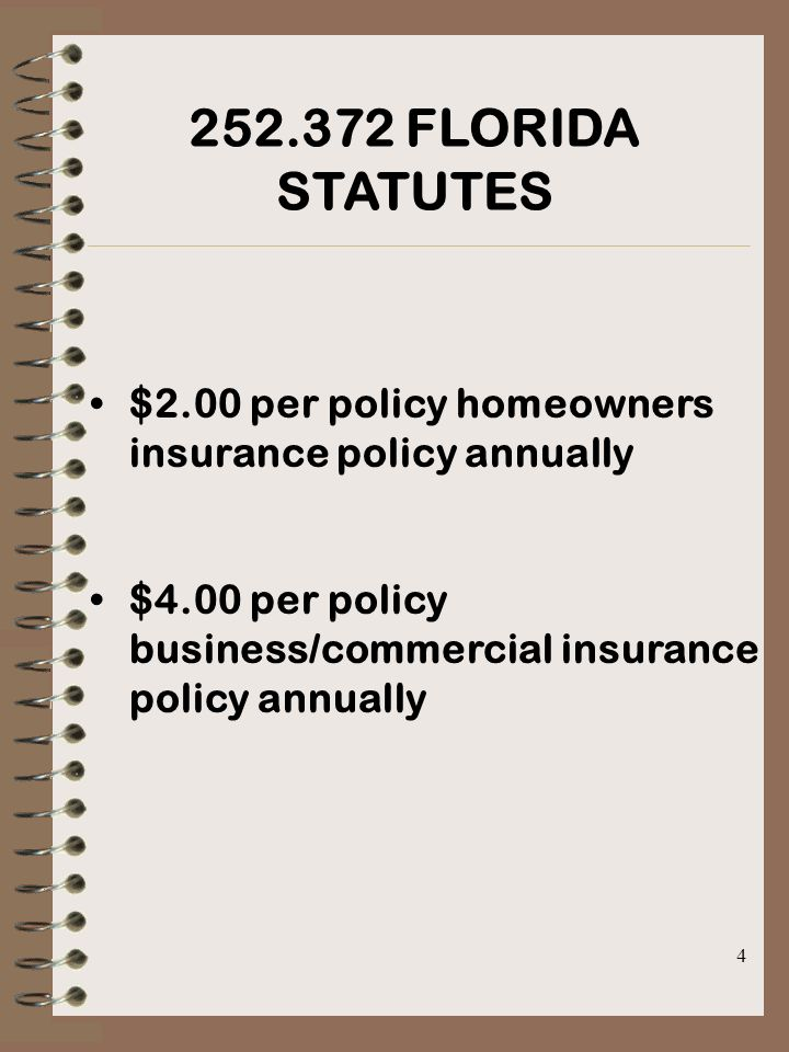 4 252.372 FLORIDA STATUTES $2.00 per policy homeowners insurance policy annually $4.00 per policy business/commercial insurance policy annually