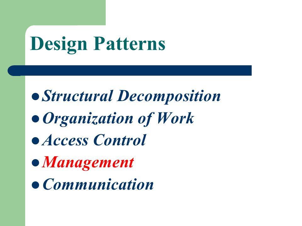 Design Patterns Structural Decomposition Organization of Work Access Control Management Communication