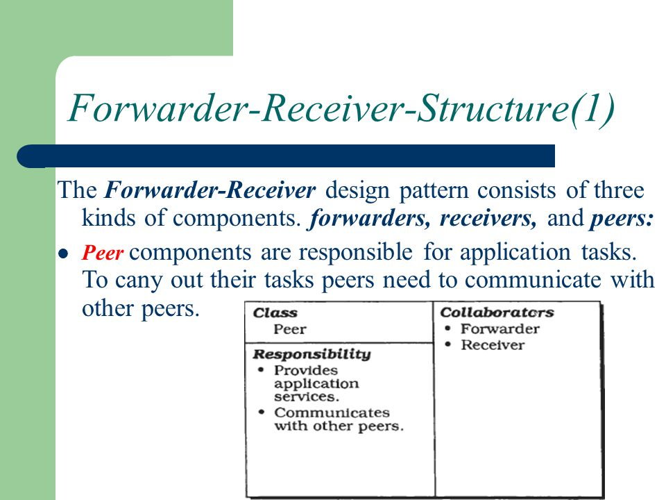 Forwarder-Receiver-Structure(1) The Forwarder-Receiver design pattern consists of three kinds of components. forwarders, receivers, and peers: Peer co