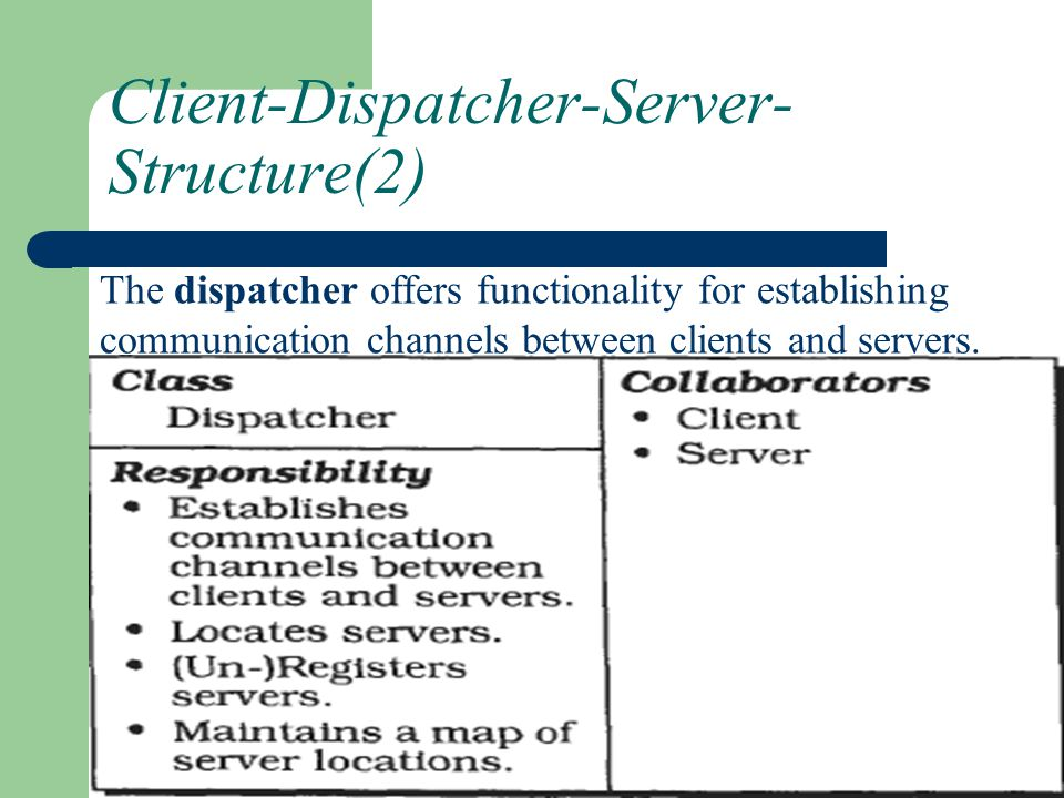 Client-Dispatcher-Server- Structure(2) The dispatcher offers functionality for establishing communication channels between clients and servers.