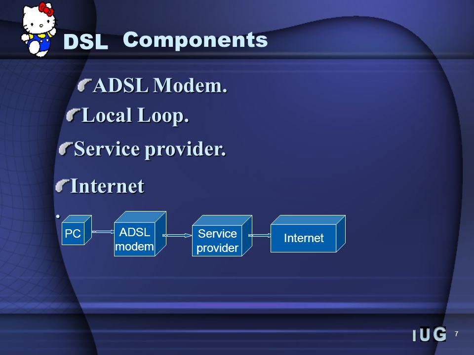 7 ADSL Modem. Local Loop. Service provider. Internet. PC ADSL modem Service provider Internet DSL Components