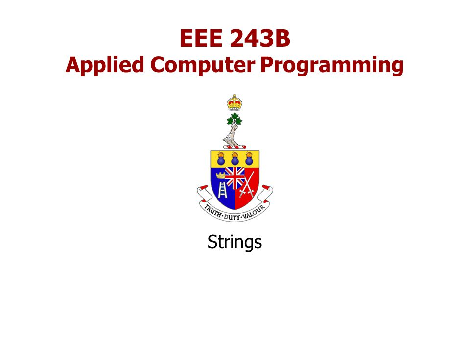 EEE 243B Applied Computer Programming Strings