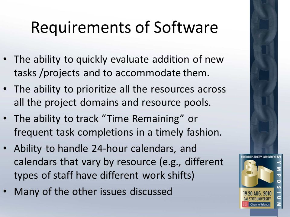 Requirements of Software The ability to quickly evaluate addition of new tasks /projects and to accommodate them. The ability to prioritize all the re