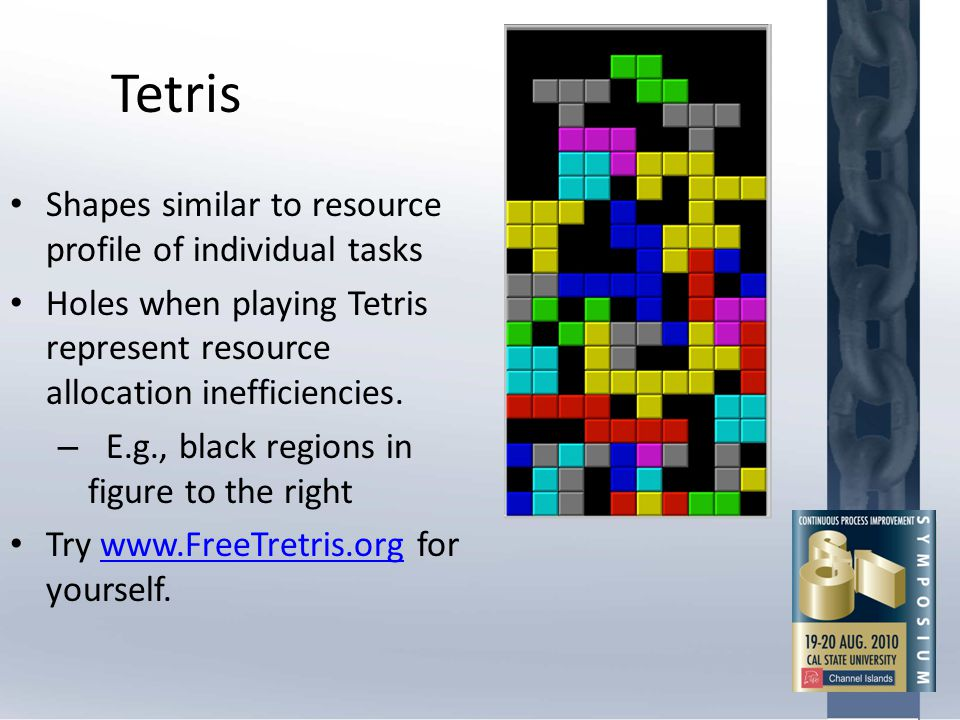 Tetris Shapes similar to resource profile of individual tasks Holes when playing Tetris represent resource allocation inefficiencies. – E.g., black re