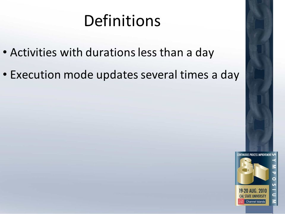 Definitions Activities with durations less than a day Execution mode updates several times a day