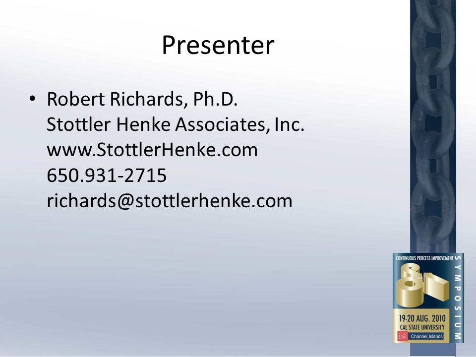 Presenter Robert Richards, Ph.D. Stottler Henke Associates, Inc.