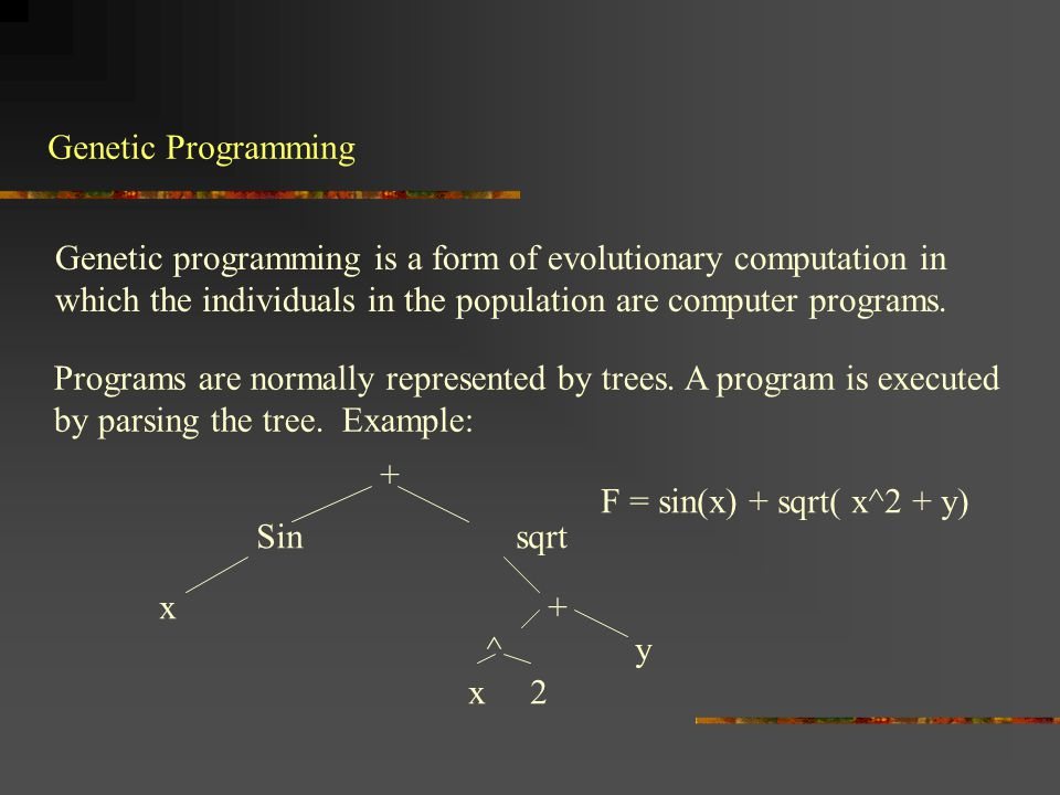 Vocabulary To apply genetic programming one has to define the functions that can be applied: Example: sin, cos, sqrt, +, -, etc.