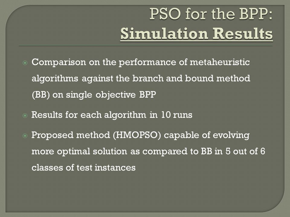  Comparison on the performance of metaheuristic algorithms against the branch and bound method (BB) on single objective BPP  Results for each algori