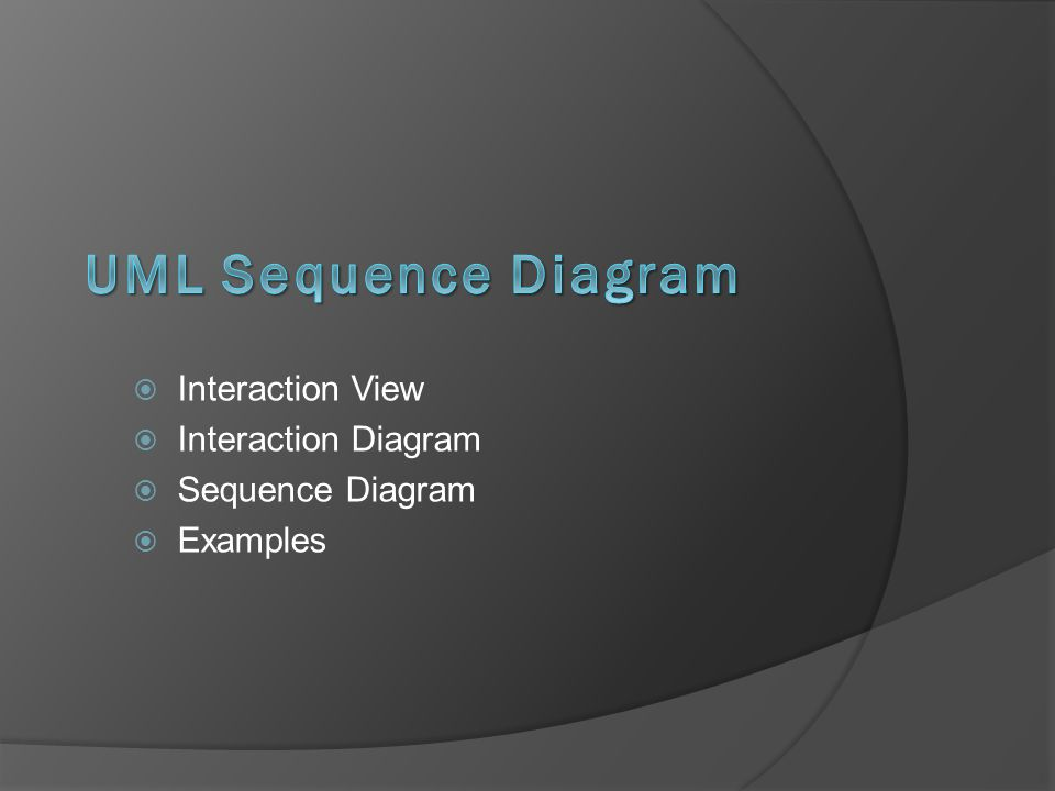  Interaction View  Interaction Diagram  Sequence Diagram  Examples