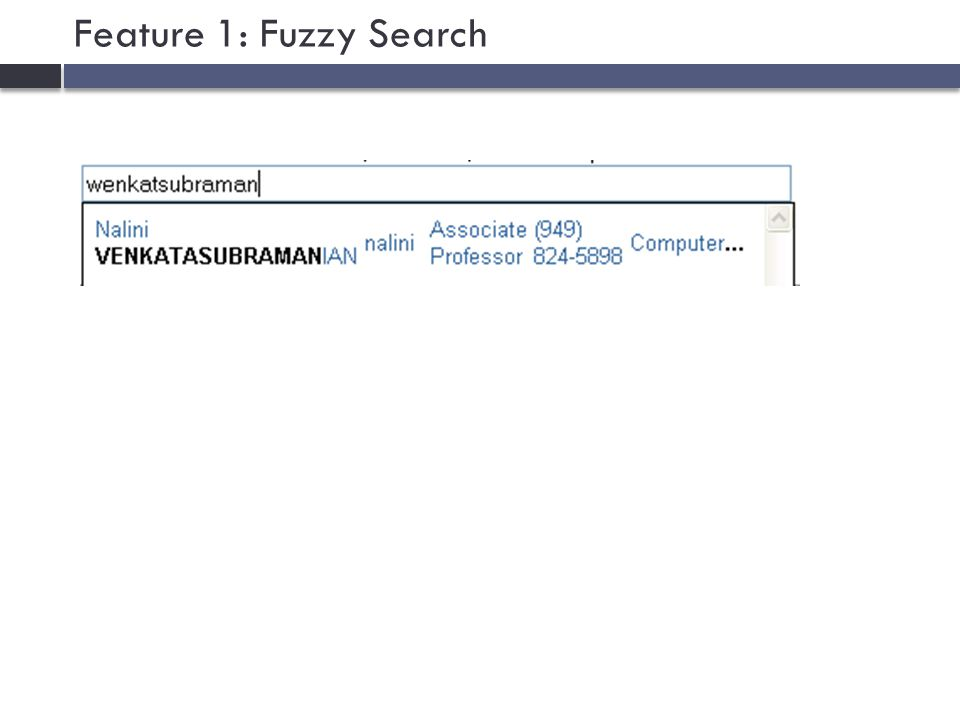 Feature 1: Fuzzy Search
