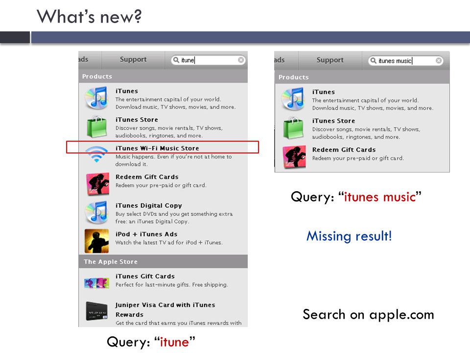 What's new Search on apple.com Query: itune Missing result! Query: itunes music